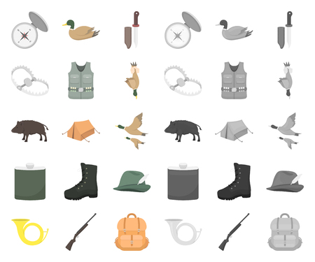 Hunting and trophy cartoon,mono icons in set collection for design. Hunting and equipment vector symbol stock  illustration. Çizim