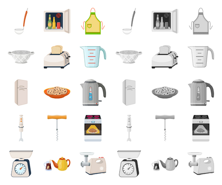 Kitchen equipment cartoon,mono icons in set collection for design. Kitchen and accessories vector symbol stock illustration.