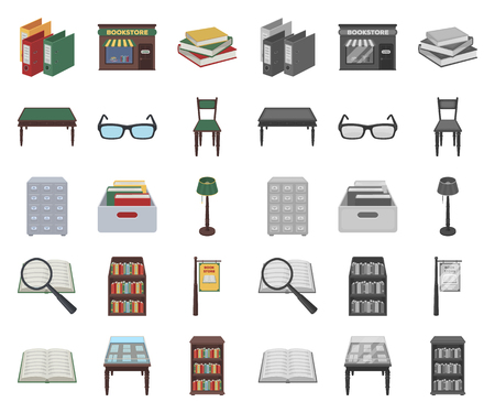 Library and bookstore cartoon,mono icons in set collection for design. Books and furnishings vector symbol stock illustration.