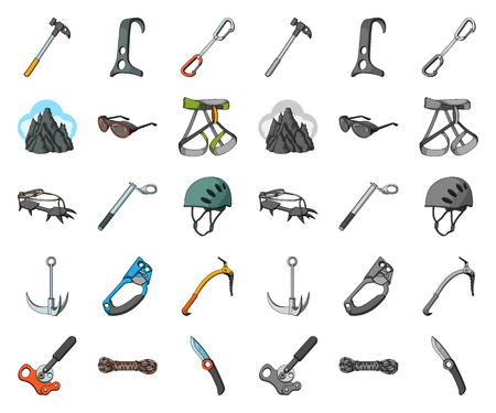 Mountaineering and climbing cartoon,mono icons in set collection for design. Equipment and accessories vector symbol stock web illustration. Ilustrace