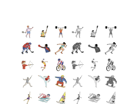 Different kinds of sports cartoon,mono icons in set collection for design. Athlete, competitions vector symbol stock  illustration.