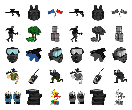 Paintball, team game cartoon,mono icons in set collection for design. Equipment and outfit vector symbol stock  illustration. Ilustração