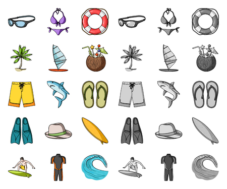 Surfing and extreme cartoon,mono icons in set collection for design. Surfer and accessories vector symbol stock illustration.