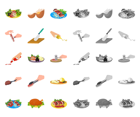 Cooking food cartoon,mono icons in set collection for design. Kitchen, equipment and tools vector symbol stock web illustration.