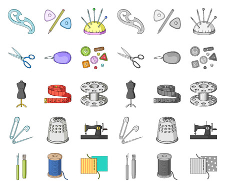 Sewing, atelier cartoon,mono icons in set collection for design. Tool kit vector symbol stock web illustration. Vectores