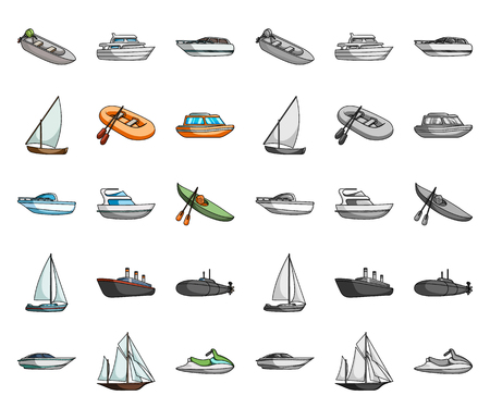 Water and sea transport cartoon,mono icons in set collection for design. A variety of boats and ships vector symbol stock web illustration.