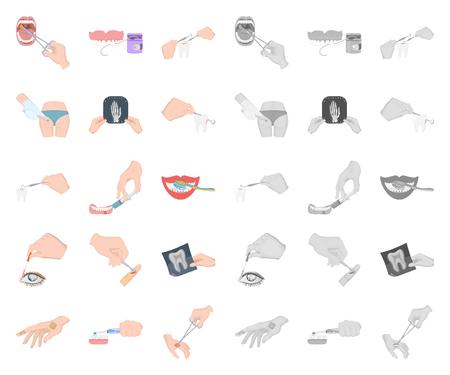 Manipulación por manos de dibujos animados, iconos mono de colección set de diseño. Movimiento de la mano en el ejemplo común de la acción del símbolo del vector de la medicina. Ilustración de vector