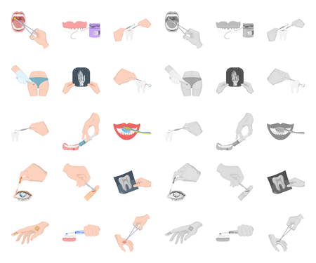 Manipulation by hands cartoon,mono icons in set collection for design. Hand movement in medicine vector symbol stock illustration.