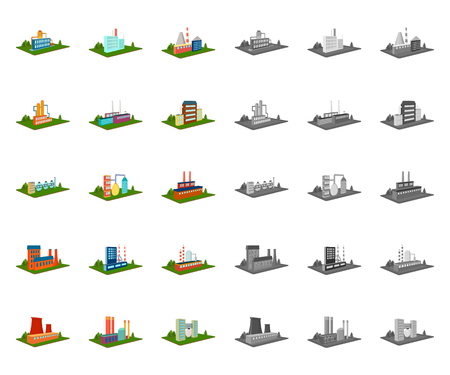 Factory and plant cartoon,mono icons in set collection for design. Production and enterprise vector isometric symbol stock web illustration. Vector Illustration