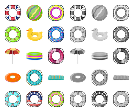 Multicolored swimming circle cartoon,mono icons in set collection for design. Different lifebuoys vector symbol stock web illustration.