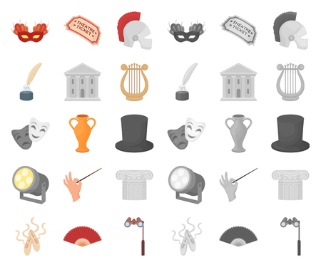 Theatrical art cartoon,mono icons in set collection for design.Theater equipment and accessories vector symbol stock web illustration. Illustration