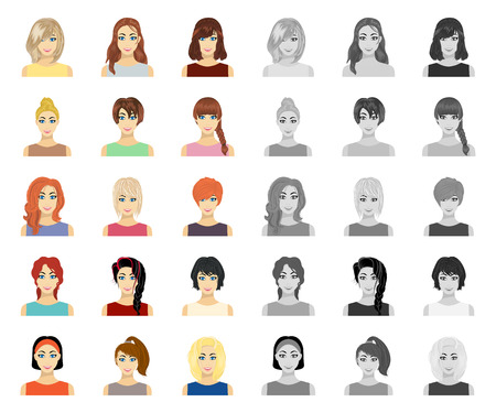 Types of female hairstyles cartoon,mono icons in set collection for design. Appearance of a woman vector symbol stock web illustration.