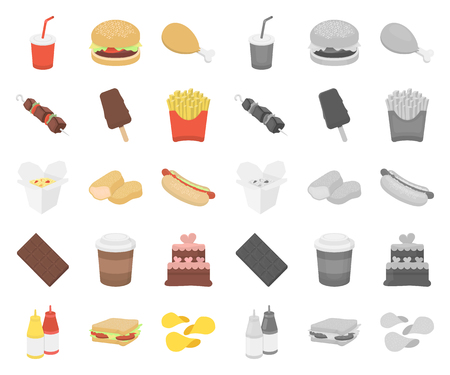 Fast food cartoon,mono icons in set collection for design.Food from semi-finished products vector symbol stock web illustration. Illusztráció