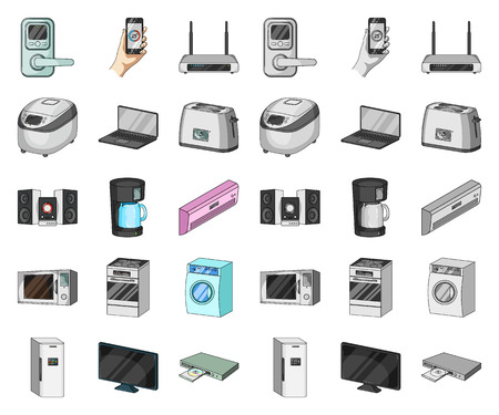 Smart home appliances cartoon,mono icons in set collection for design. Modern household appliances vector symbol stock illustration.