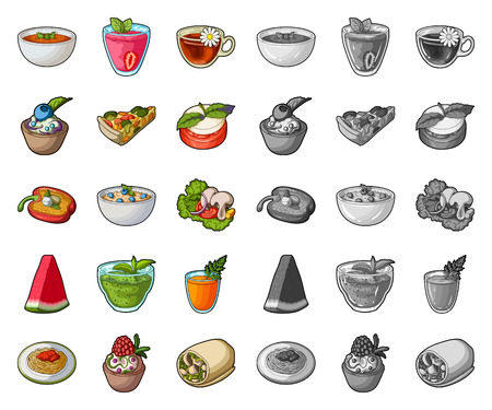 Vegetarian dish cartoon,mono icons in set collection for design.Vegetable and milk food vector symbol stock web illustration.