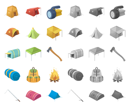 Different kinds of tents cartoon,mono icons in set collection for design. Temporary shelter and housing vector symbol stock web illustration.