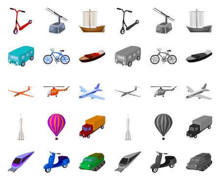 Diferentes tipos de dibujos animados de transporte, iconos mono de colección set de diseño. Ilustración de stock de símbolo de vector de coche y barco.