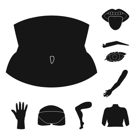 Vector design of body and part symbol. Set of body and anatomy stock vector illustration. Ilustração