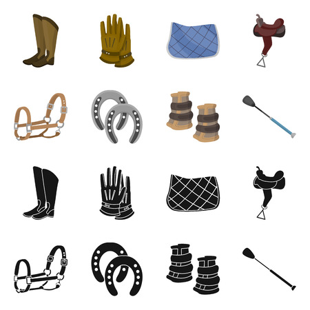 Vector design of equipment and riding icon. Set of equipment and competition vector icon for stock.  イラスト・ベクター素材