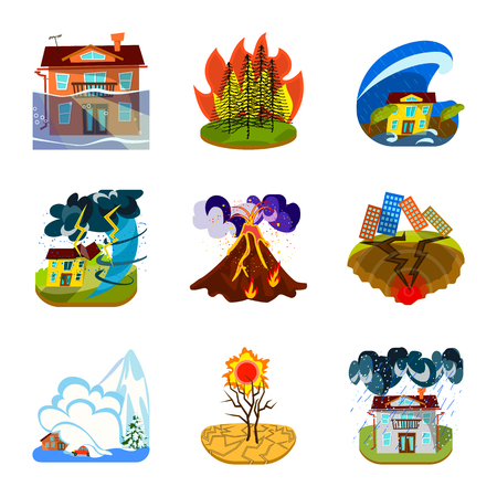 Vector illustration of cataclysm and disaster icon. Collection of cataclysm and apocalypse  stock vector illustration.