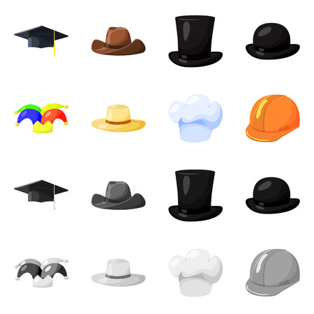 Isolated object of clothing and cap sign. Set of clothing and beret stock symbol for web.