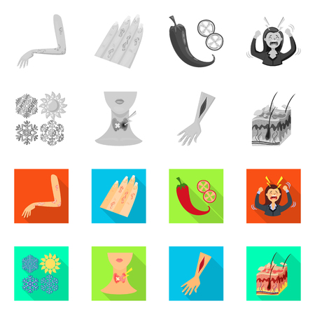 Vector design of medical and pain  sign. Set of medical and disease vector icon for stock. Ilustrace