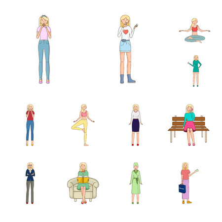 Vector illustration of woman and body sign. Collection of woman and style vector icon for stock.