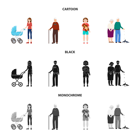 Vector design of character and avatar . Collection of character and portrait vector icon for stock.