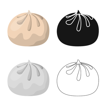 Isolated object of baozi and khinkali  symbol. Set of baozi and breakfast  vector icon for stock.