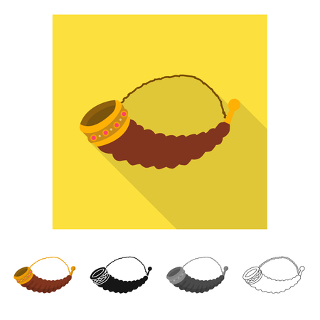 Vector design of horn and Georgian icon. Collection of horn and ancient stock vector illustration.