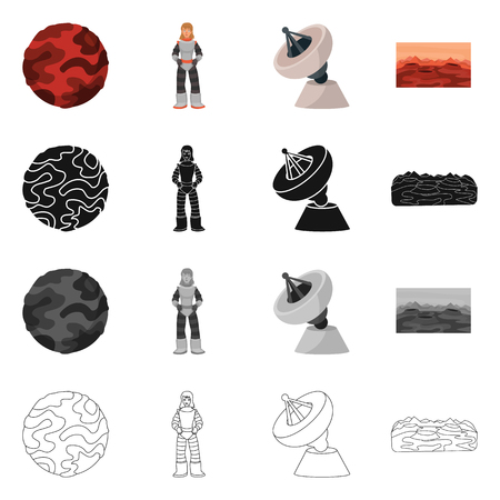 Isolated object of astronomy and technology icon. Collection of astronomy and sky vector icon for stock.