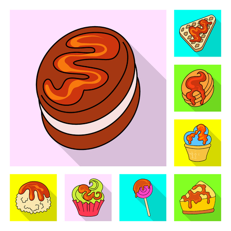 Vector illustration of confectionery and culinary sign. Set of confectionery and colorful vector icon for stock.