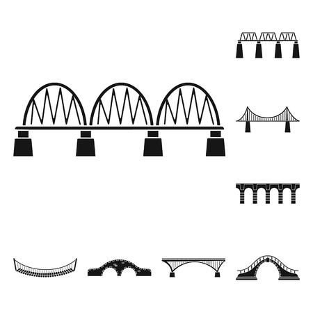Vector design of construct and side symbol. Set of construct and bridge stock symbol for web.
