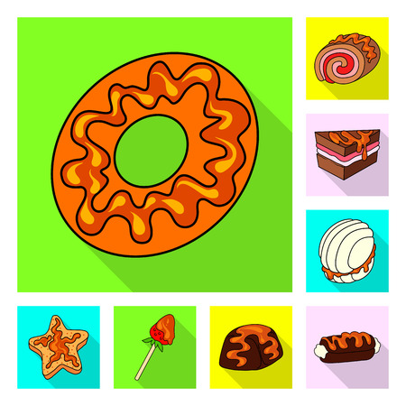 Vector illustration of confectionery and culinary logo. Set of confectionery and colorful vector icon for stock.
