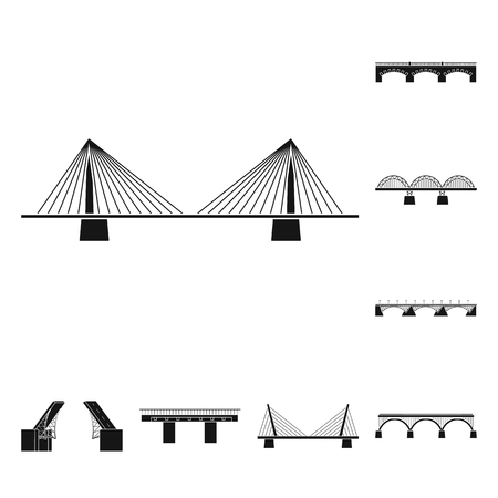 Vector illustration of construct and side icon. Collection of construct and bridge stock symbol for web.  イラスト・ベクター素材