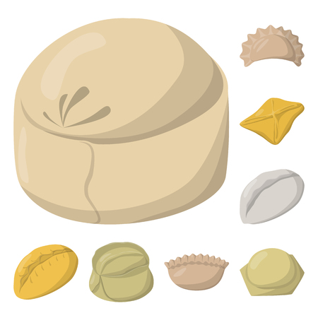 Isolated object of dumplings and food icon. Collection of dumplings and stuffed stock symbol for web.