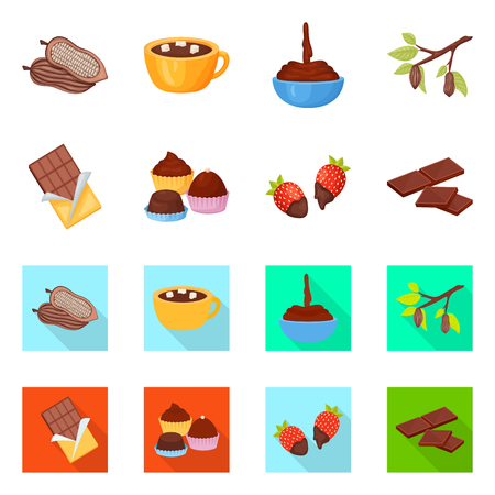 Vector design of food and yummy sign. Collection of food and brown   vector icon for stock.