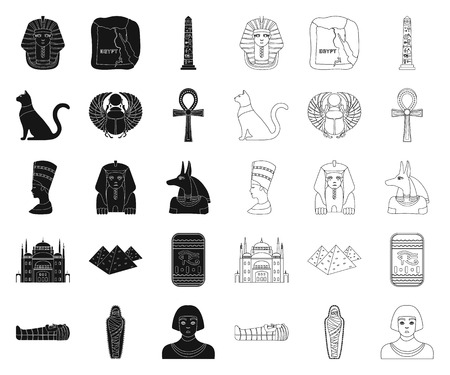 Ancient Egypt black,outline icons in set collection for design. The reign of Pharaoh vector symbol stock web illustration.