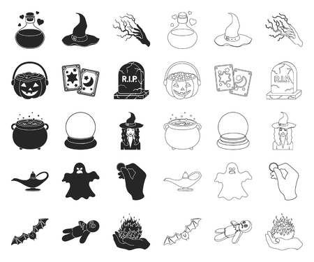 black,outline and white magic black,outline icons in set collection for design. Attributes and sorceress accessories vector symbol stock web illustration.