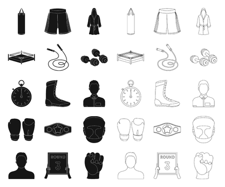Boxing extreme sports black,outline icons in set collection for design. Boxer and attributes vector symbol stock web illustration.  イラスト・ベクター素材