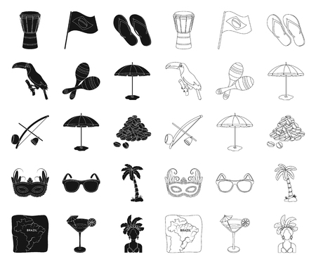 Country Brazil black,outline icons in set collection for design. Travel and attractions Brazil vector symbol stock web illustration. Illustration