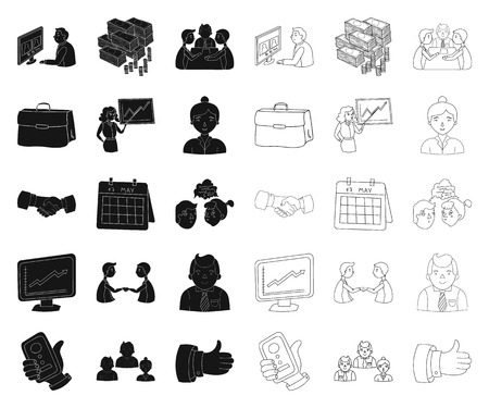 Business Conference And Negotiations black,outline icons in set collection for design.Business and training vector symbol stock web illustration.