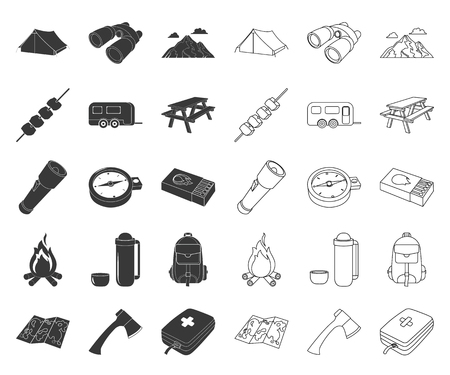 Rest in the camping black,outline icons in set collection for design. Camping and equipment vector symbol stock web illustration. Illustration