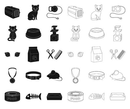 An animal cat black,outline icons in set collection for design. Caring for a cat vector symbol stock web illustration.