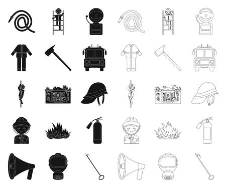 Feuerwehr schwarz, Umrisssymbole in Set-Sammlung für Design. Feuerwehrmänner und Ausrüstungsvektorsymbolvorrat-Netzillustration. Vektorgrafik