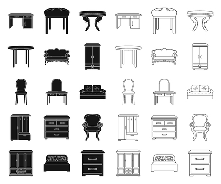 Furniture and interior black,outline icons in set collection for design.Home furniture vector symbol stock web illustration.