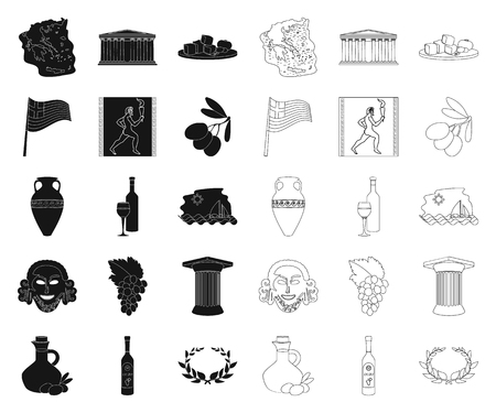 Country Greece black,outline icons in set collection for design.Greece and landmark vector symbol stock web illustration. Illustration