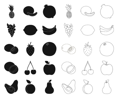 Different fruits black,outline icons in set collection for design. Fruits and vitamins vector symbol stock web illustration.