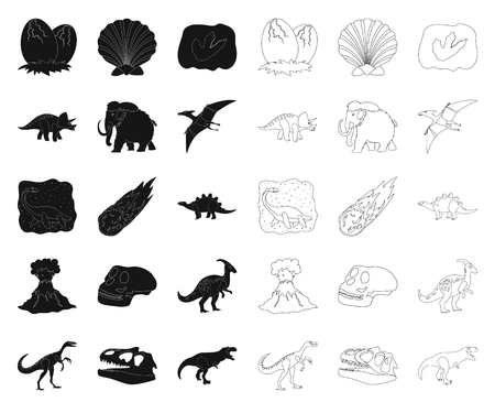 Different dinosaurs black,outline icons in set collection for design. Prehistoric animal vector symbol stock  illustration.