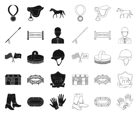 Hippodrome and horse black,outline icons in set collection for design. Horse Racing and Equipment vector symbol stock  illustration.